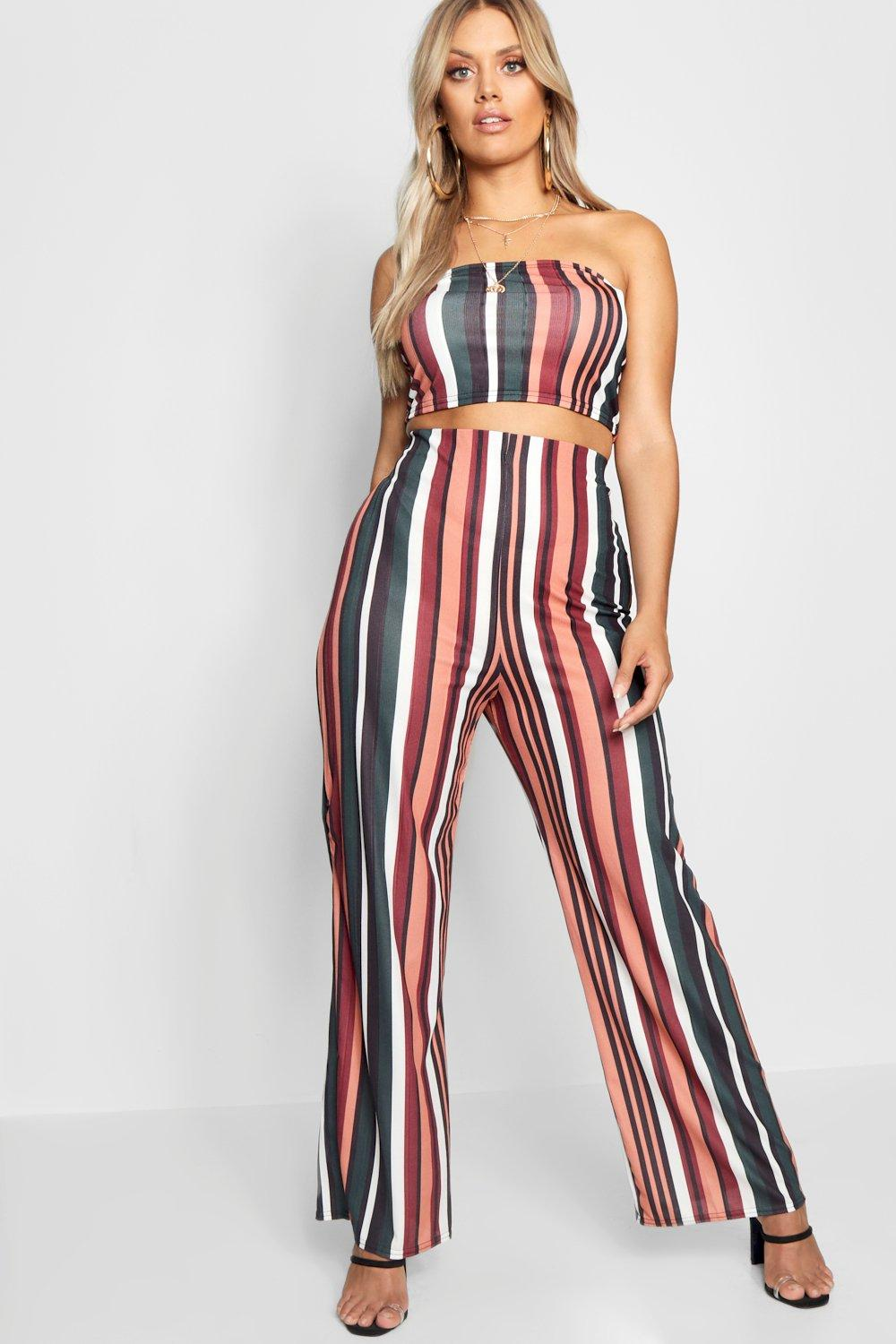 09f23344513a35 Plus Stripe Crop + Trouser Co-ord. Hover to zoom