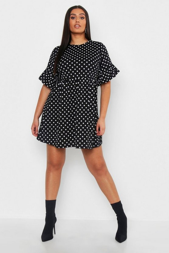 Womens Black Plus Polka Dot Smock Dress