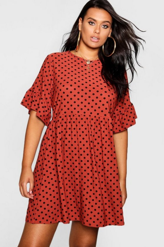 Womens Rust Plus Polka Dot Smock Dress