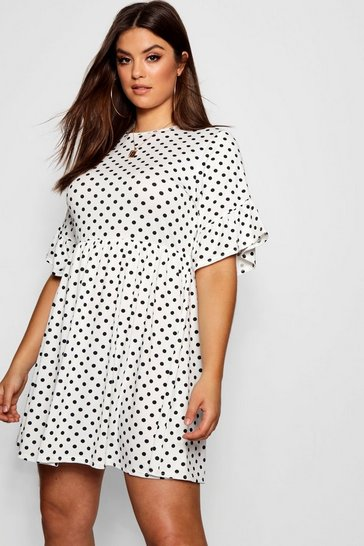 Womens White Plus Polka Dot Smock Dress