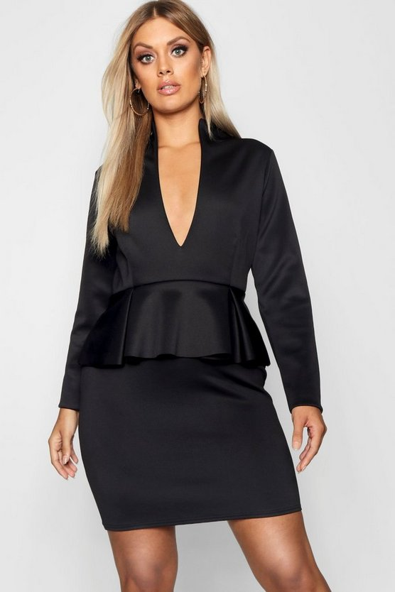 Black Plus Peplum High Collar Dress