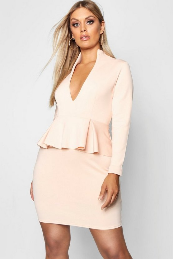Plus Peplum High Collar Dress