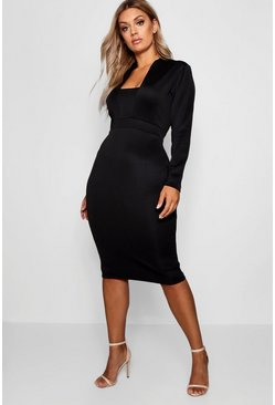 Black Plus Plunge High Collar Midi Dress