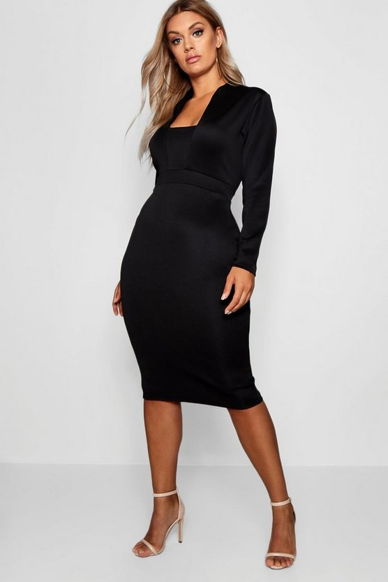 Womens Black Plus Plunge High Collar Midi Dress