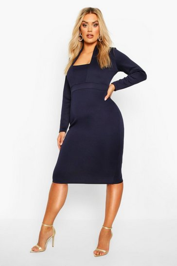 Womens Navy Plus Plunge High Collar Midi Dress