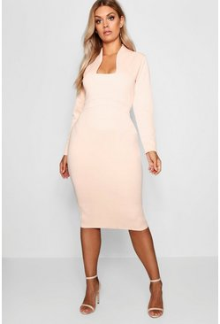 Womens Nude Plus Plunge High Collar Midi Dress