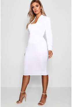 Womens White Plus Plunge High Collar Midi Dress