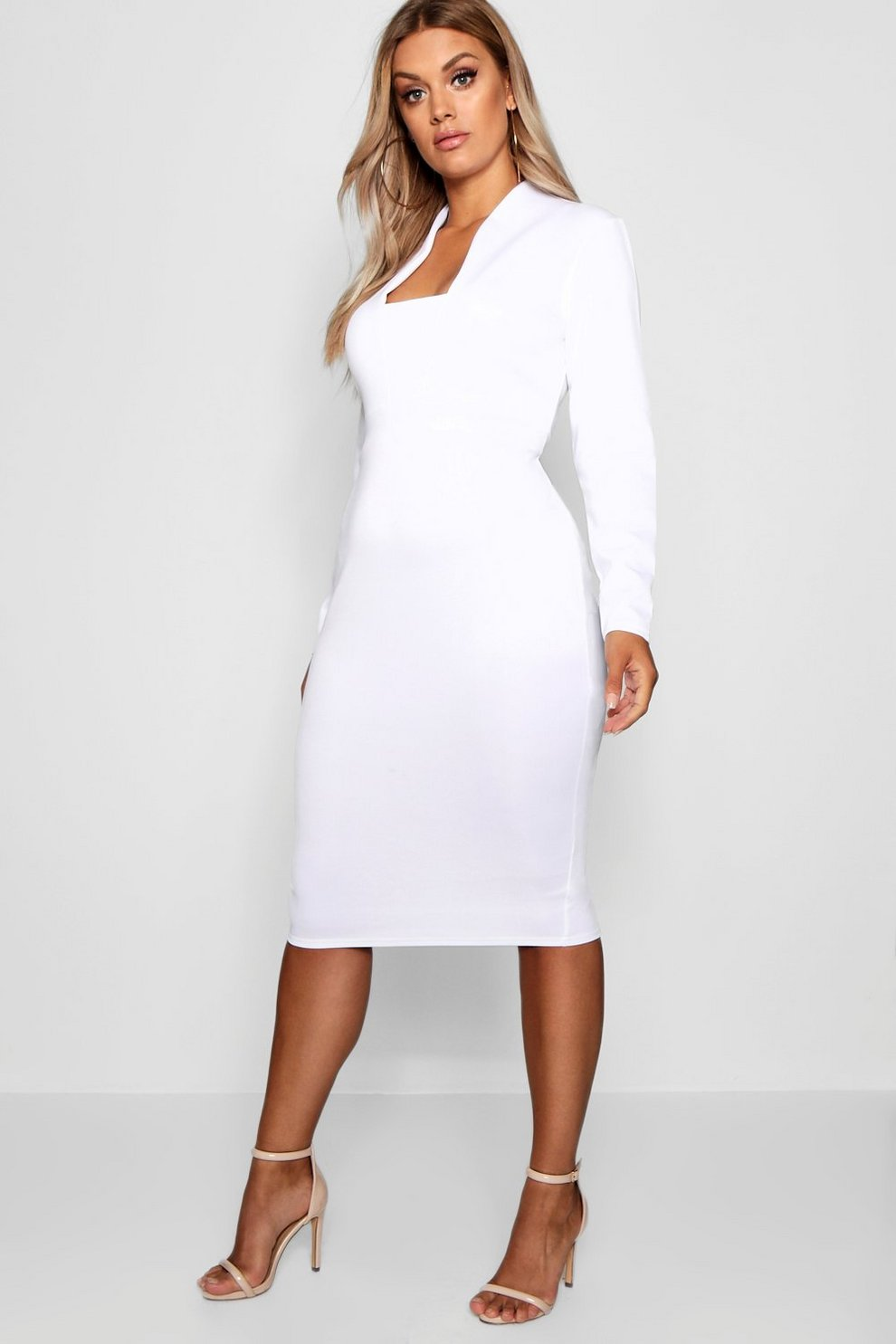 c90a46c1e2f6 Plus Plunge High Collar Midi Dress | Boohoo