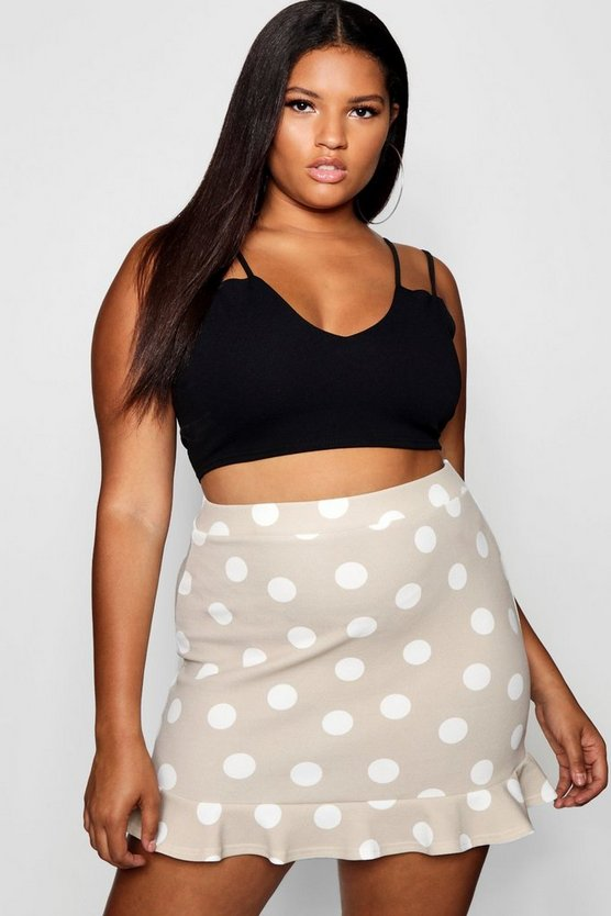 Plus Spot Ruffle Button Mini Skirt