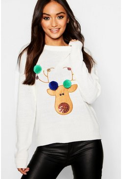 Womens Cream Petite Reindeer Pom Pom Christmas Jumper