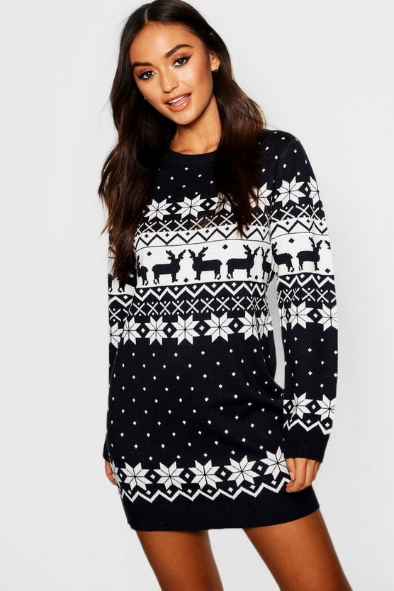 Navy Petite Fairisle Christmas Jumper Dress