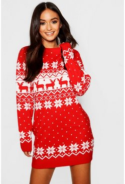 Red Petite Fairisle Christmas Jumper Dress