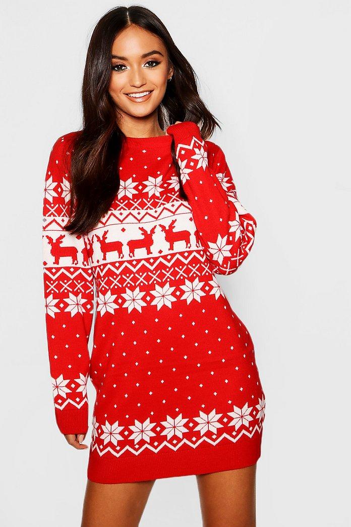 Petite Fairisle Christmas Jumper Dress by Boohoo