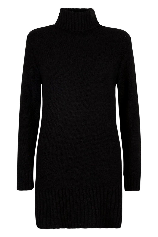 jersey con negro vuelto Petite cuello Vestido estilo 56w1OnqOzx
