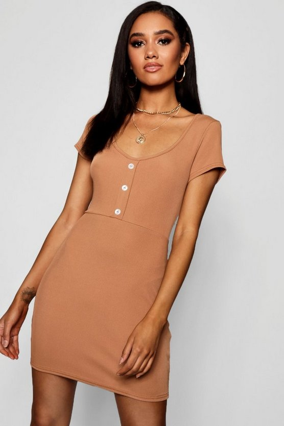 Petite button rib mini dress