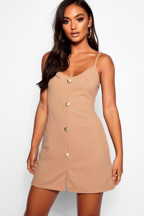 Petite Gold Button Detail Shift Dress
