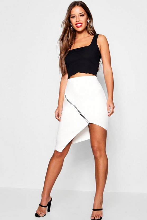 Petite Asymmetric Zip Detail Midi Skirt