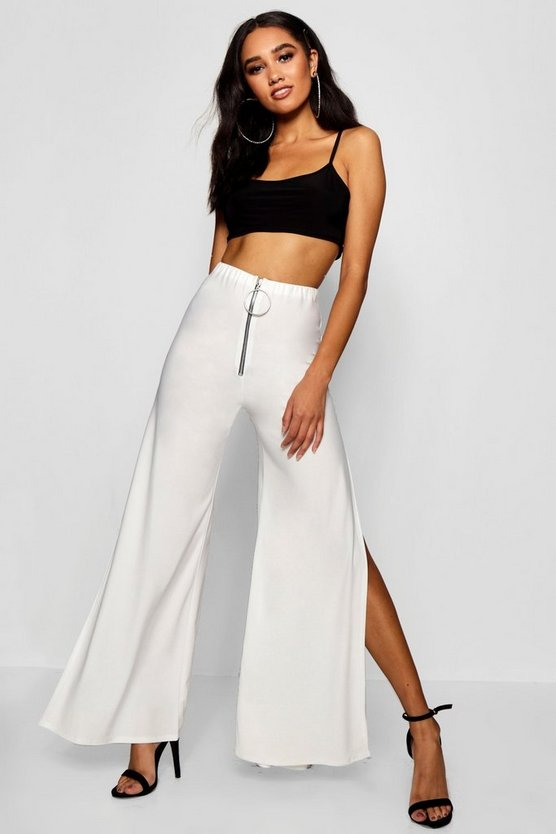 Petite O-Ring Split Detail Wide Leg Trouser