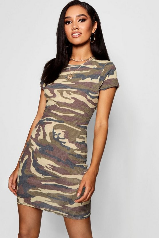 Petite Camouflage Bodycon Dress
