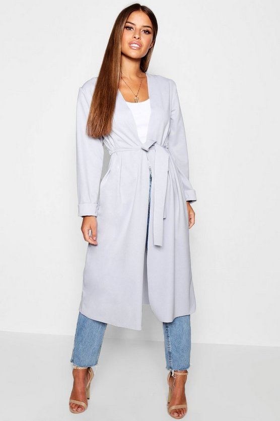 Petite Ruched Waterfall Duster Jacket