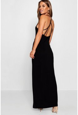 Womens Black Petite Strappy Back Maxi Dress