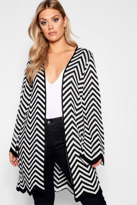 Plus Chevron Knit Longline Cardigan