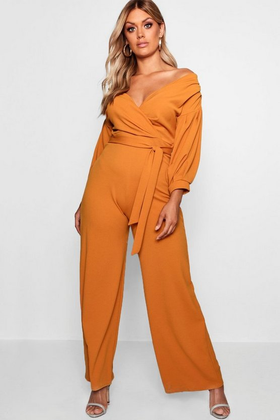 Plus Off The Shoulder Wrap Jumpsuit