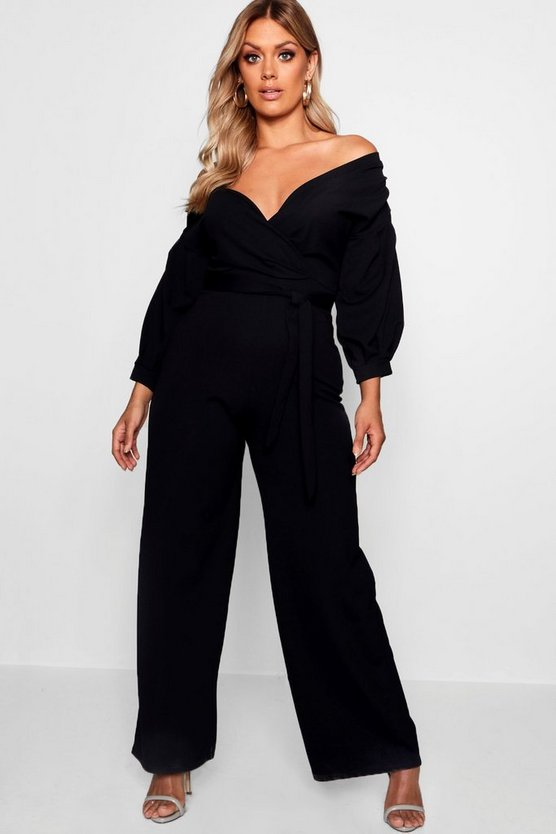 Womens Black Plus Off The Shoulder Wrap Jumpsuit
