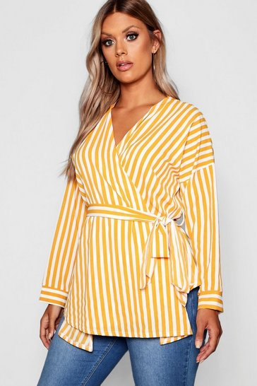 Womens Mustard Plus Stripe Wrap Top