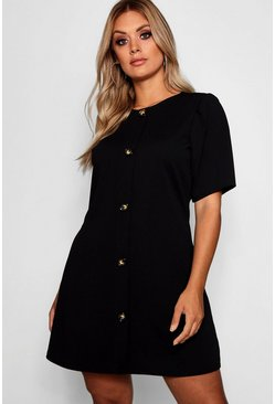Womens Black Plus Crepe Horn Button Puff Sleeve Shift Dress