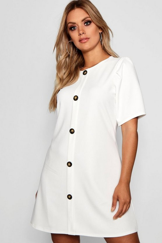 Plus Crepe Horn Button Puff Sleeve Shift Dress