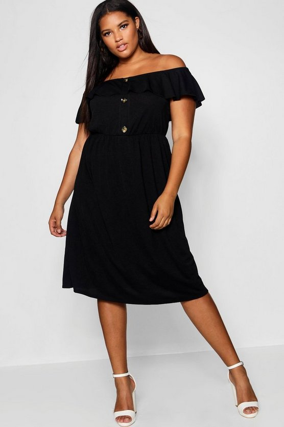 Womens Black Plus Crepe Off The Shoulder Midi Dress
