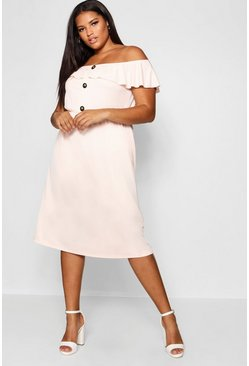 Womens Blush Plus Crepe Off The Shoulder Midi Dress