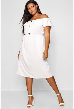 Womens Ivory Plus Crepe Off The Shoulder Midi Dress