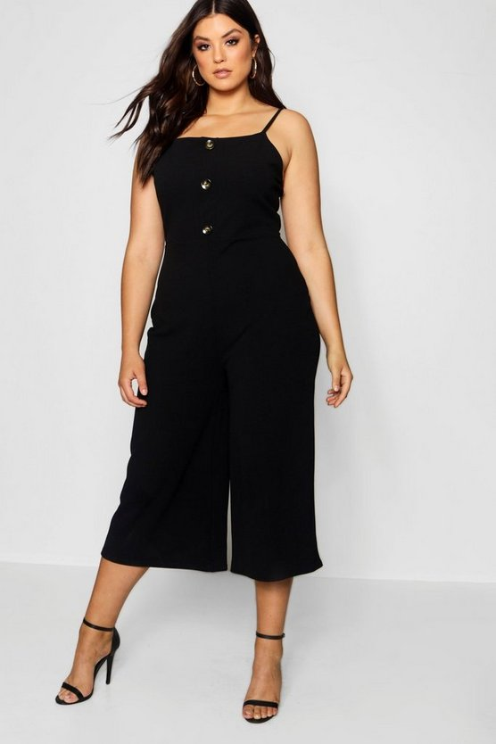Womens Black Plus Crepe Horn Button Culotte Jumpsuit