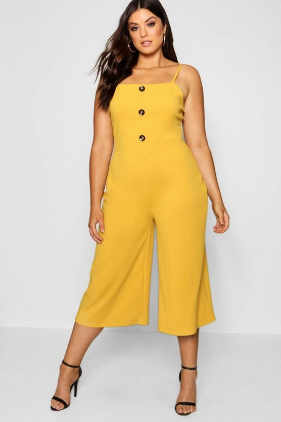 Womens Mustard Plus Crepe Horn Button Culotte Jumpsuit