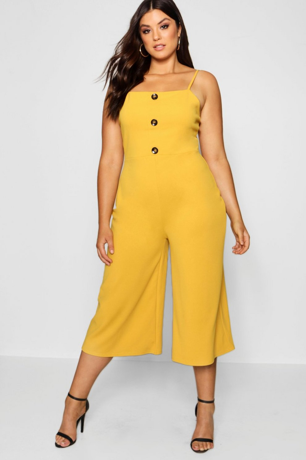 d8c5b8f5359e Plus Crepe Horn Button Culotte Jumpsuit