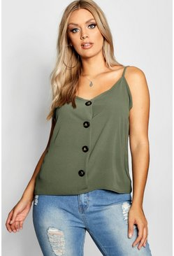 Womens Sage Plus Button Detail Cami