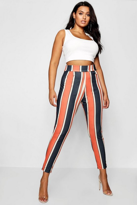 Womens Orange Plus Bold Stripe Slim Fit Trousers