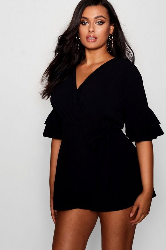 Black Plus Ruffle Sleeve Playsuit