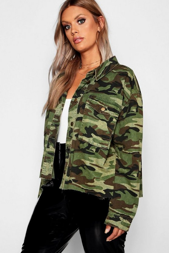 Womens Green Plus Camo Raw Edge Jacket