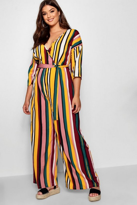 Plus Stripe Wrap Jumpsuit