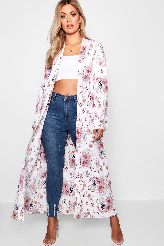 Plus floral cachemir estampado Kimono de crema con qwEIX