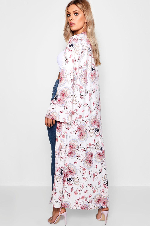 Plus cachemir floral con Kimono crema estampado de 6RIwTqX