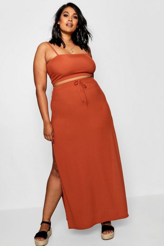 Plus Rib Crop & High Split Maxi Co-ord