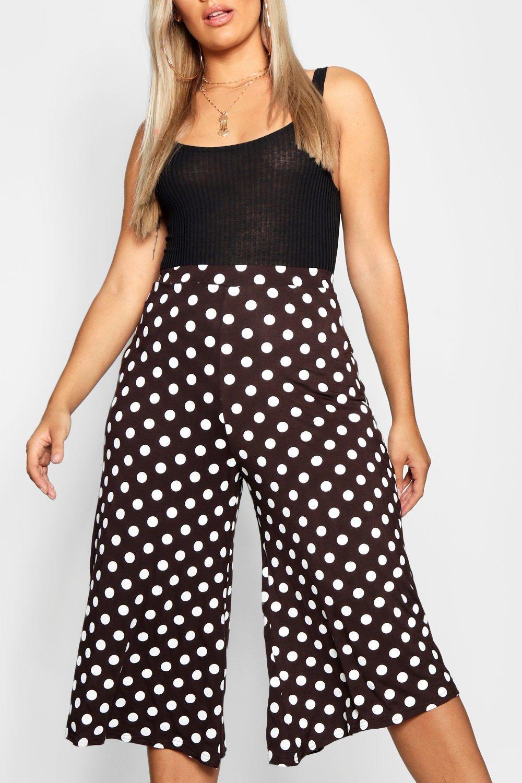 culottes de Pantalones estilo marrón rayas a Plus jersey q5BRSOB