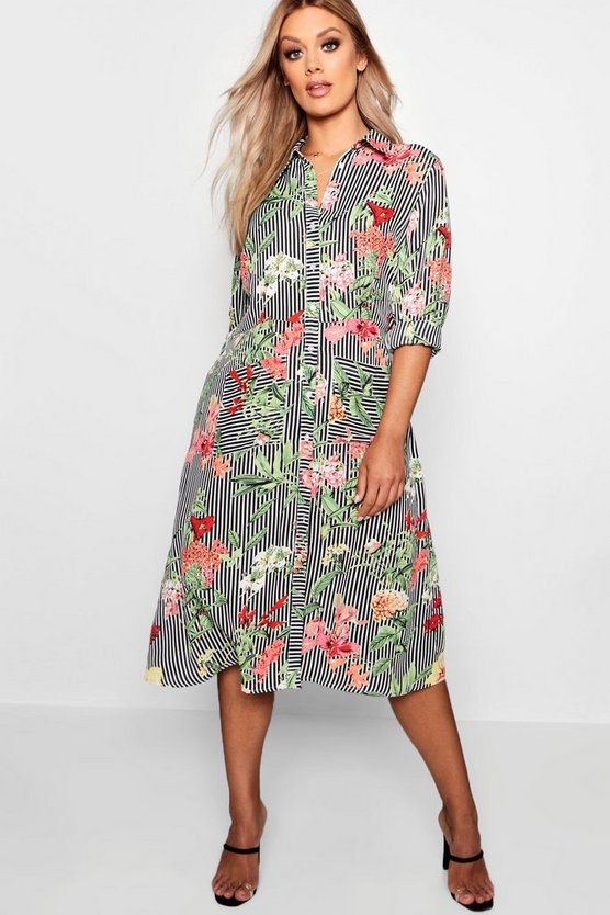 Womens Black Plus Floral & Stripe Shirt Midi Dress