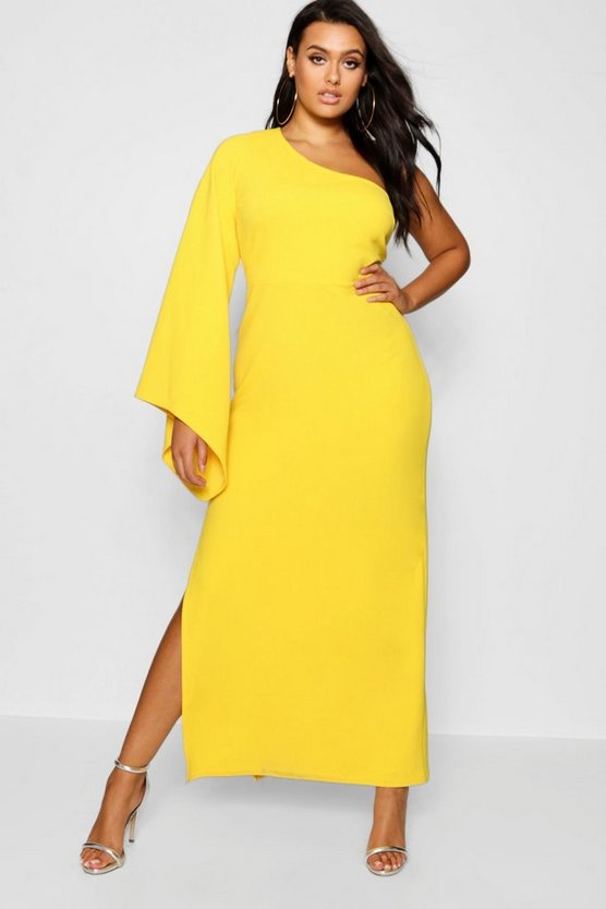 Plus One Shoulder Flare Sleeve Maxi Dress