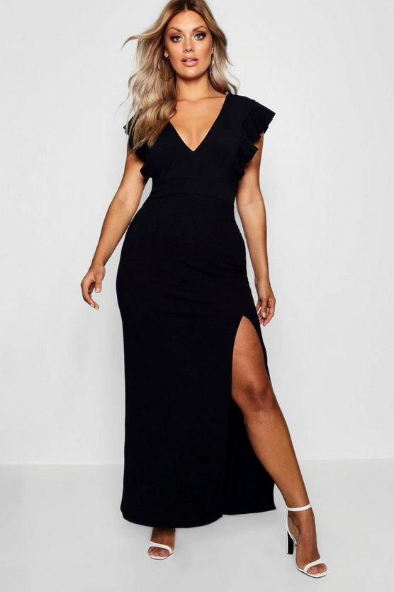 Womens Black Plus Ruffle Shoulder Plunge Maxi Dress