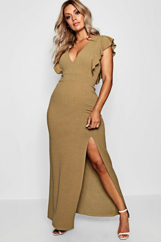 Womens Sage Plus Ruffle Shoulder Plunge Maxi Dress